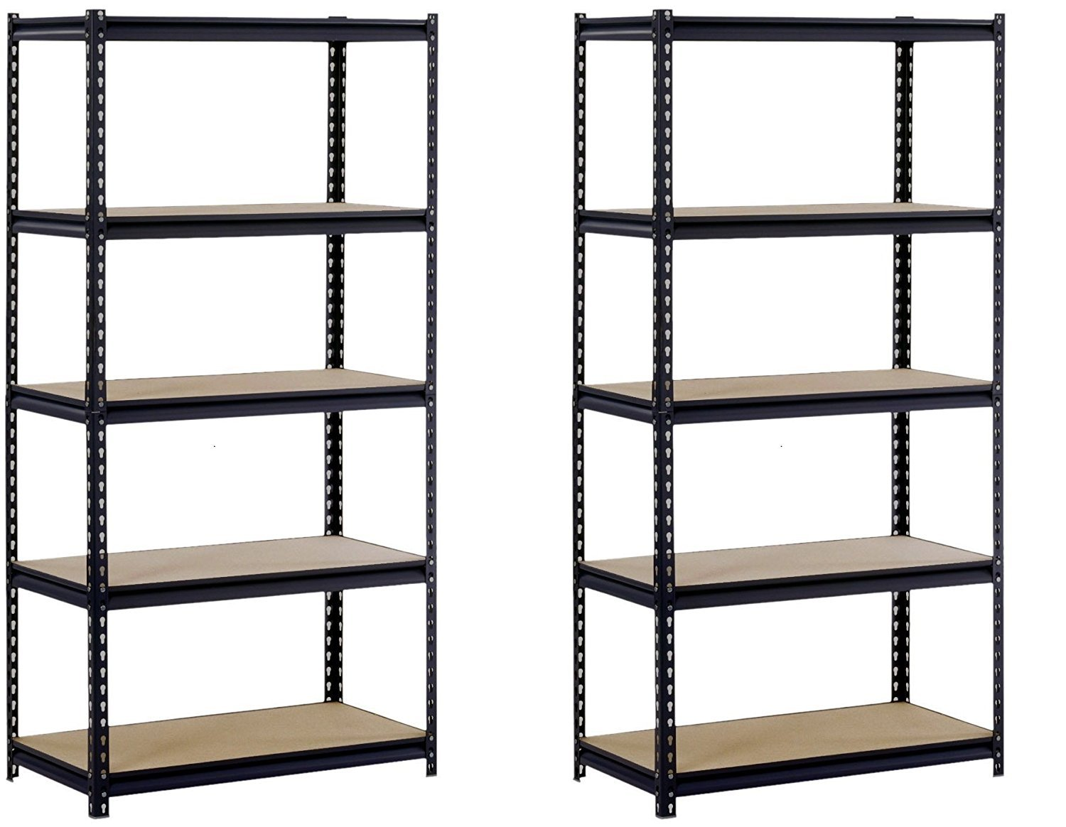 Sandusky/Edsal UR185P-BLK Black Steel Heavy Duty 5-Shelf Shelving Unit, 4000lbs Capacity, 36'' Width x 72'' Height x 18'' Depth (Does not include post couplers) (Pack of 2) by EDSAL