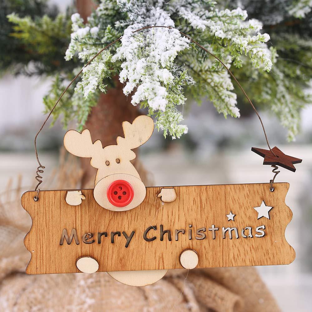 Ciondolo In Legno,Chshe /™,Buon Natale In Legno Traforato Lettera Alce Ciondolo Albero Di Natale Decorazione Appesa B