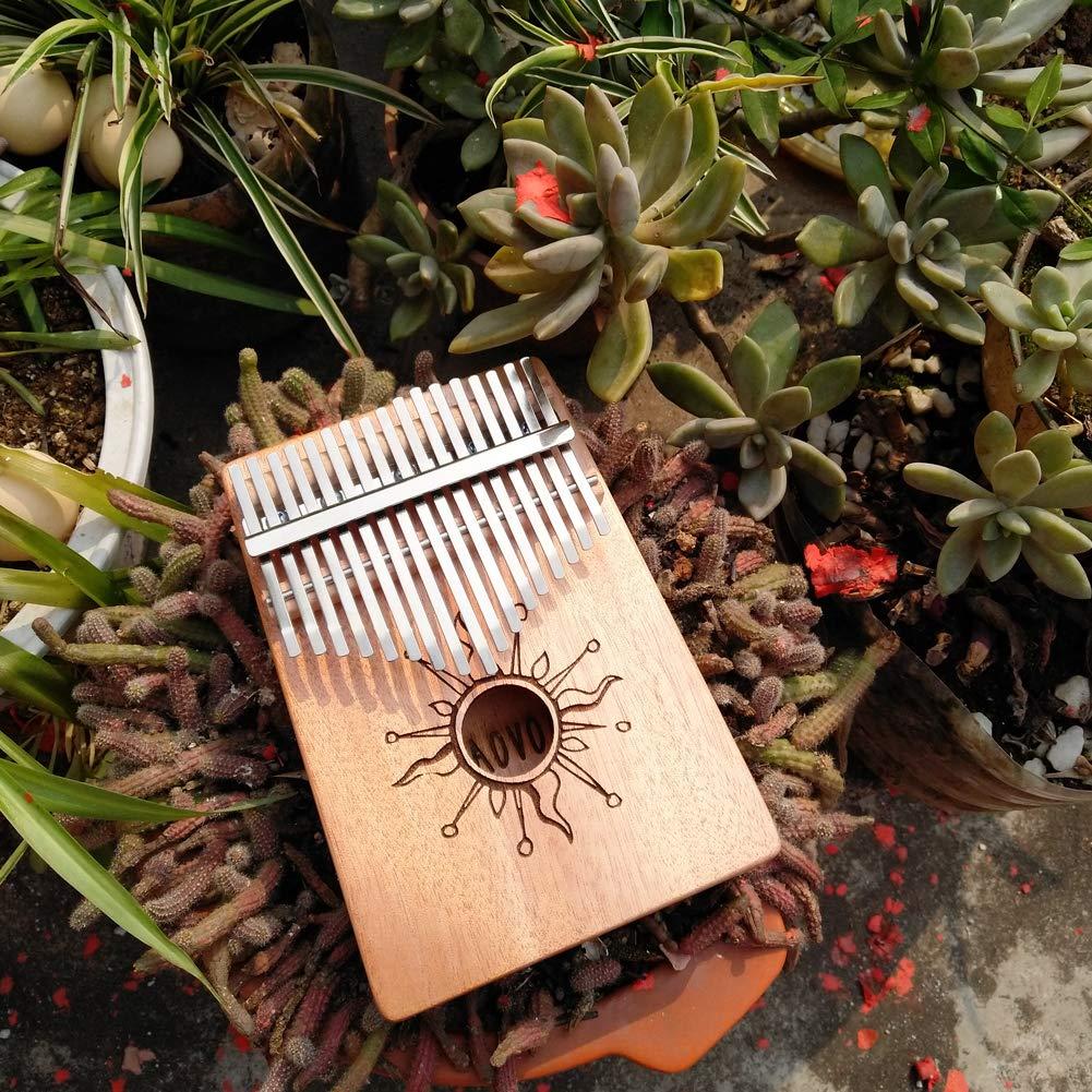 AOVOA Thumb Piano, 17 key Kalimba, Finger Piano Mbira, Mahogany Body Kalimba with Tuning Hammer, Pickup, Finger Guards, Carry Bag and Key stickers, Ideal Gift for Music Fans by AOVOA (Image #6)