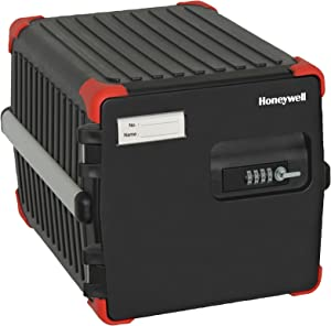 Honeywell 1550 Mobile Locker with 4 Digit Combination Lock, 1.26-Cubic Feet, Black/Red Accent