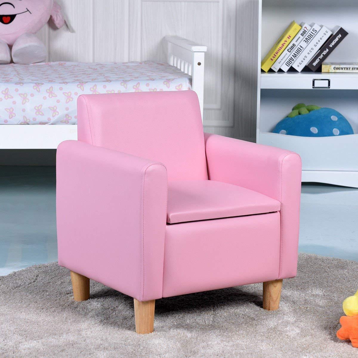 HONEY JOY Kids Sofa, Upholstered Armrest, Sturdy Wood Construction, Toddler Couch with Storage Box (Single Seat, Pink) by HONEY JOY (Image #3)