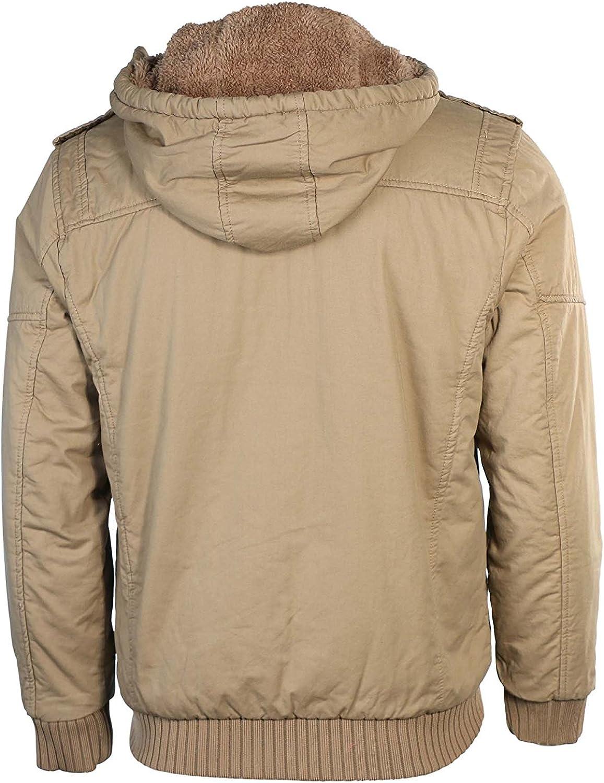Maximos Mens Sherpa Lined Sahara Hooded Multi Pocket Bomber Jacket