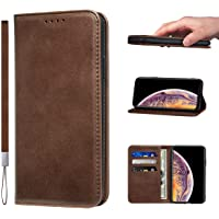 LANJLM iPhone X/XS Case PU Leather Wallet Case Card Holder Shockproof Flip Cover - Brown
