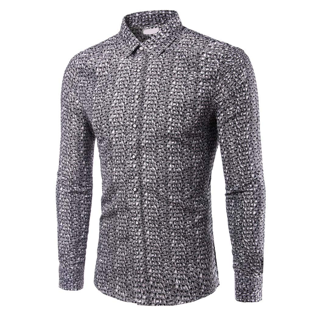 Mens Spring Fashion Long Sleeved Patchwork Fastener Daily Shirts Tops