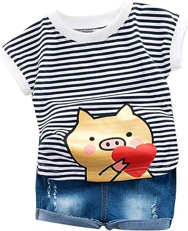 Baby Boy Summer Cartoon 2pc Outfits Mickey Short Sleeve T-shirt Denim Shorts Set