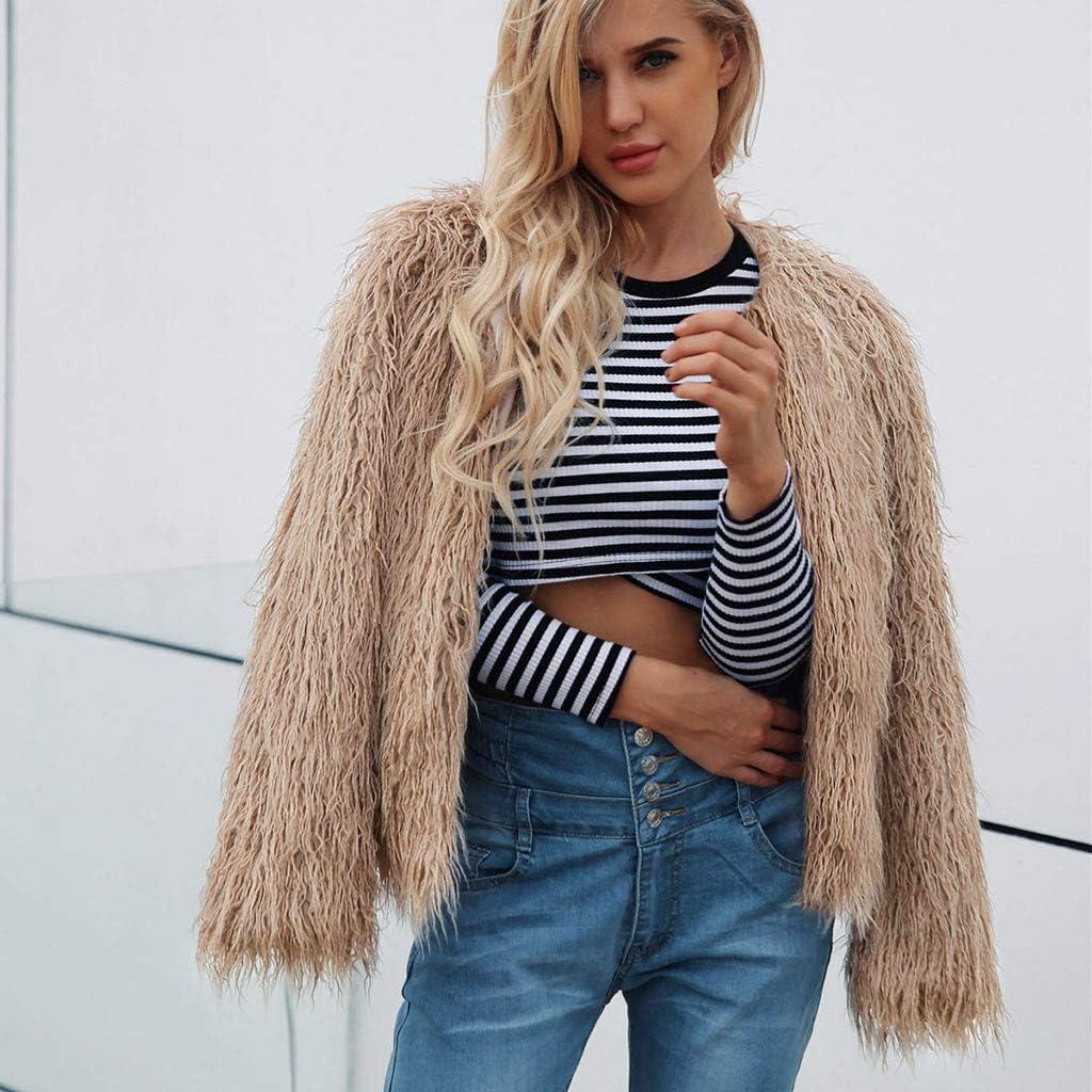 Fashion Fluffy Fleece Sherpa Coat Cardigan Club Party Overcoat Outwear Winter Warm SamojoyFurry Faux Fur Jacket Women