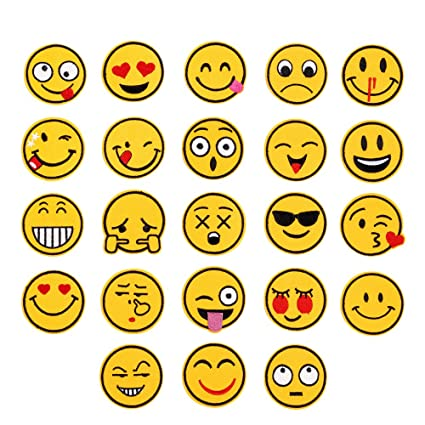 23 Pack Emoji Patches Sew on or Iron on Embroidered Patch DIY Applique  Badge Decorative