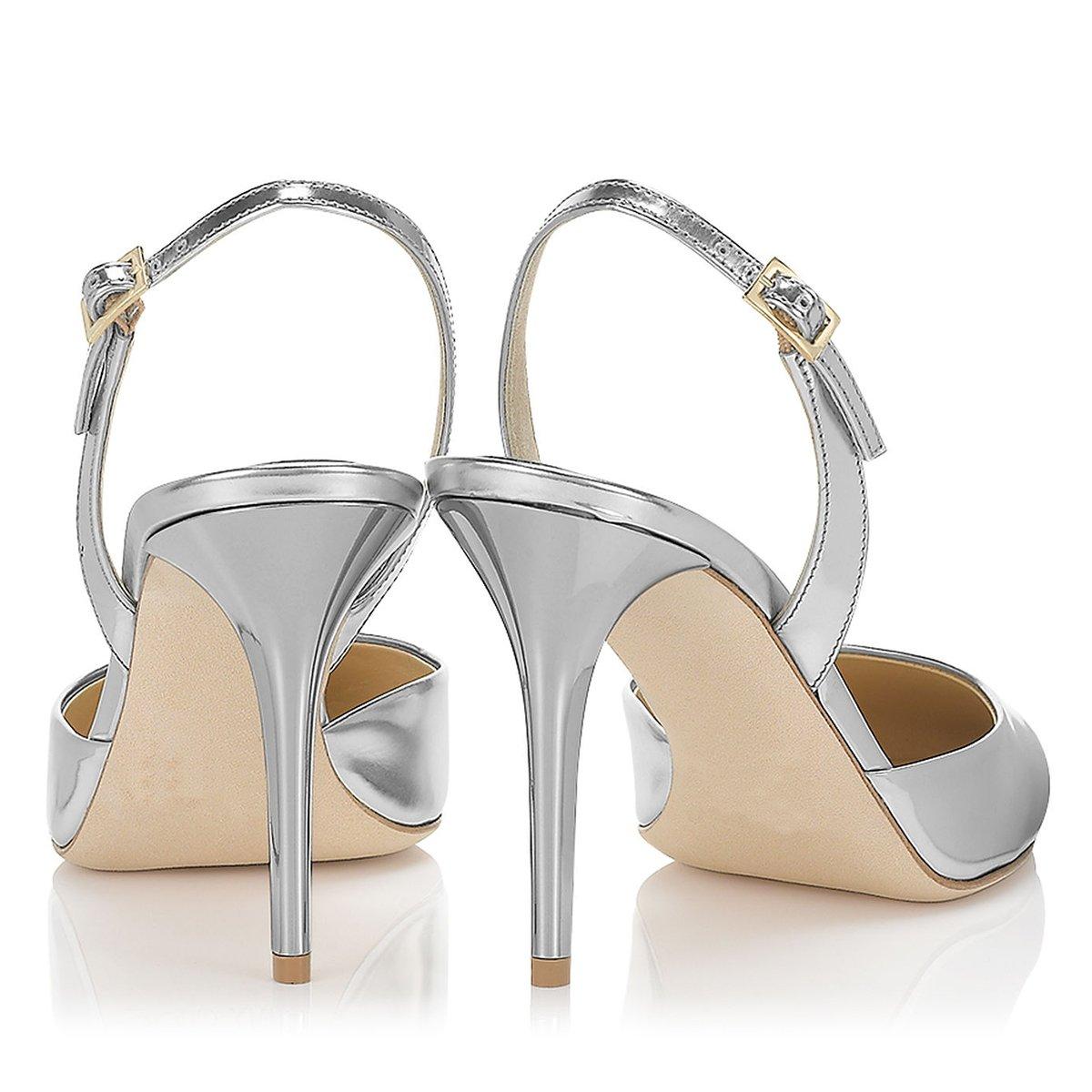 FSJ Women Pointed Toe Pumps Slingback Stilettos Heels Sandals Ankle Strap Shoes Size 7 Silver by FSJ (Image #4)