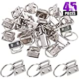 Swpeet 45Pcs Sliver 4/5 Inch Key Fob Hardware with Key Rings Sets, Perfect for Bag Wristlets with Fabric/Ribbon/Webbing/Embossed and Other Hand Craft - 20mm