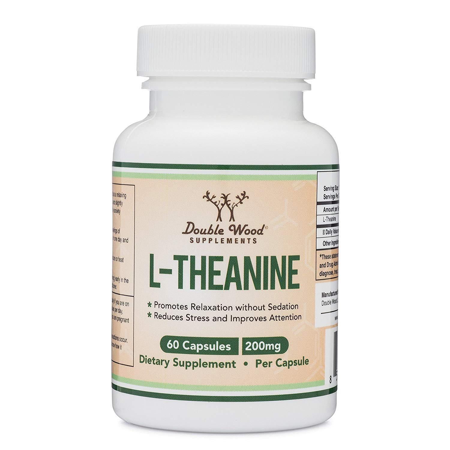 L-Theanine 200mg by Double Wood Supplements - Naturally Reduce Stress, Promote Relaxation and Quality Sleep - Soy Free, Gluten Free, Non-GMO -Third Party Tested and Made in The USA 60 Capsules by Double Wood Supplements