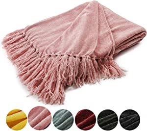 EverGrace Fluffy Cozy Chenille Throw Blanket with Decorative Fringe 60 x 50 Luxury Tassel Throw Blanket for Couch Sofa Chair Bed Office Home Décor Pink