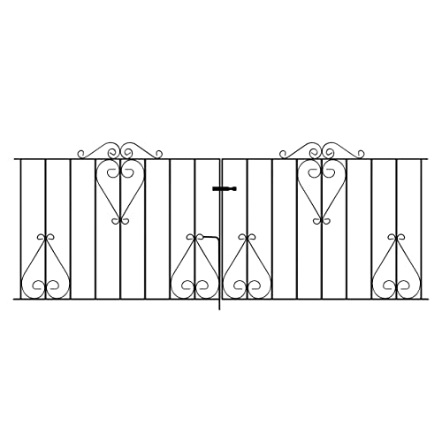 Classic13 Scroll Driveway Gates 2438mm (8ft) GAP X 914mm High Wrought Iron Metal  Garden