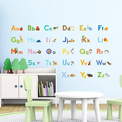 Decowall DW 1608S Watercolour Animal Alphabet ABC Kids Wall Decals Wall  Stickers Peel And Stick