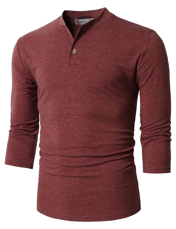 【H2H】ベーシック メンズ カジュアル ファッション オシャレ カラー ヘンリーネック 七分袖 ティーシャツ CMTTS0174 B076J7HM2W M|Cmtts0205-darkmaroon Cmtts0205-darkmaroon M