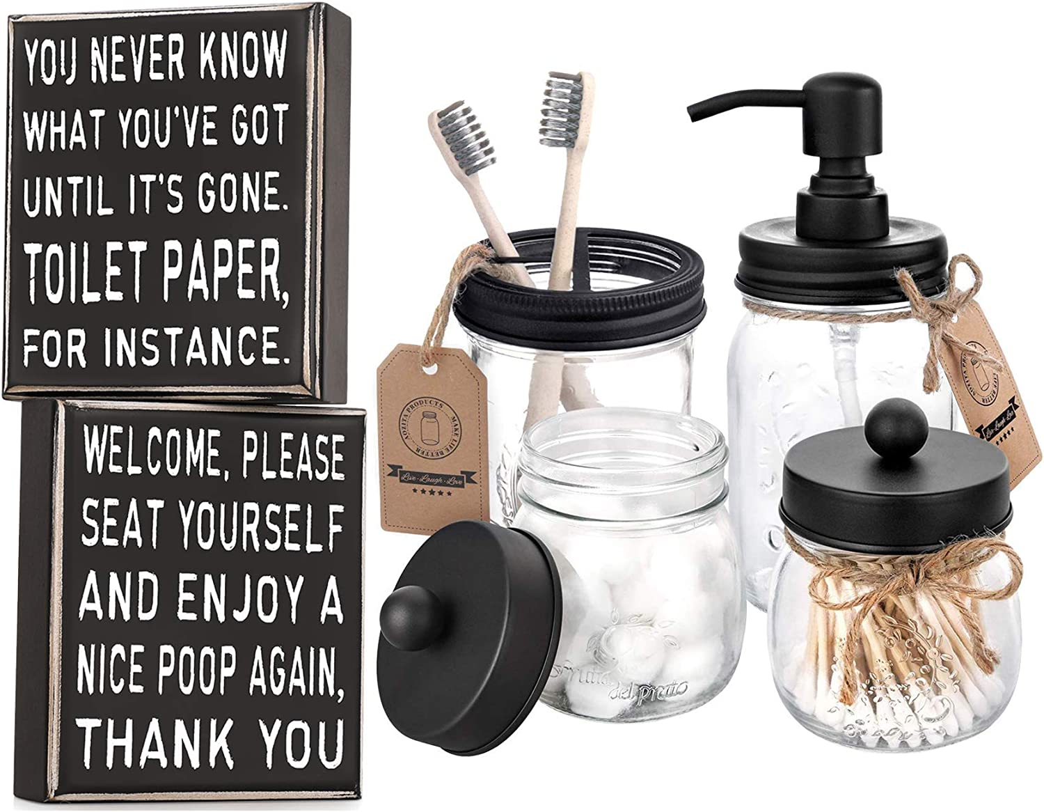 AOZITA 2 Sides, Home Bathroom Decor Classic Box Sign, 5 x 6-Inches + Mason Jar Bathroom Accessories Set 4 Pcs - Mason Jar Soap Dispenser & 2 Apothecary Jars & Toothbrush Holder
