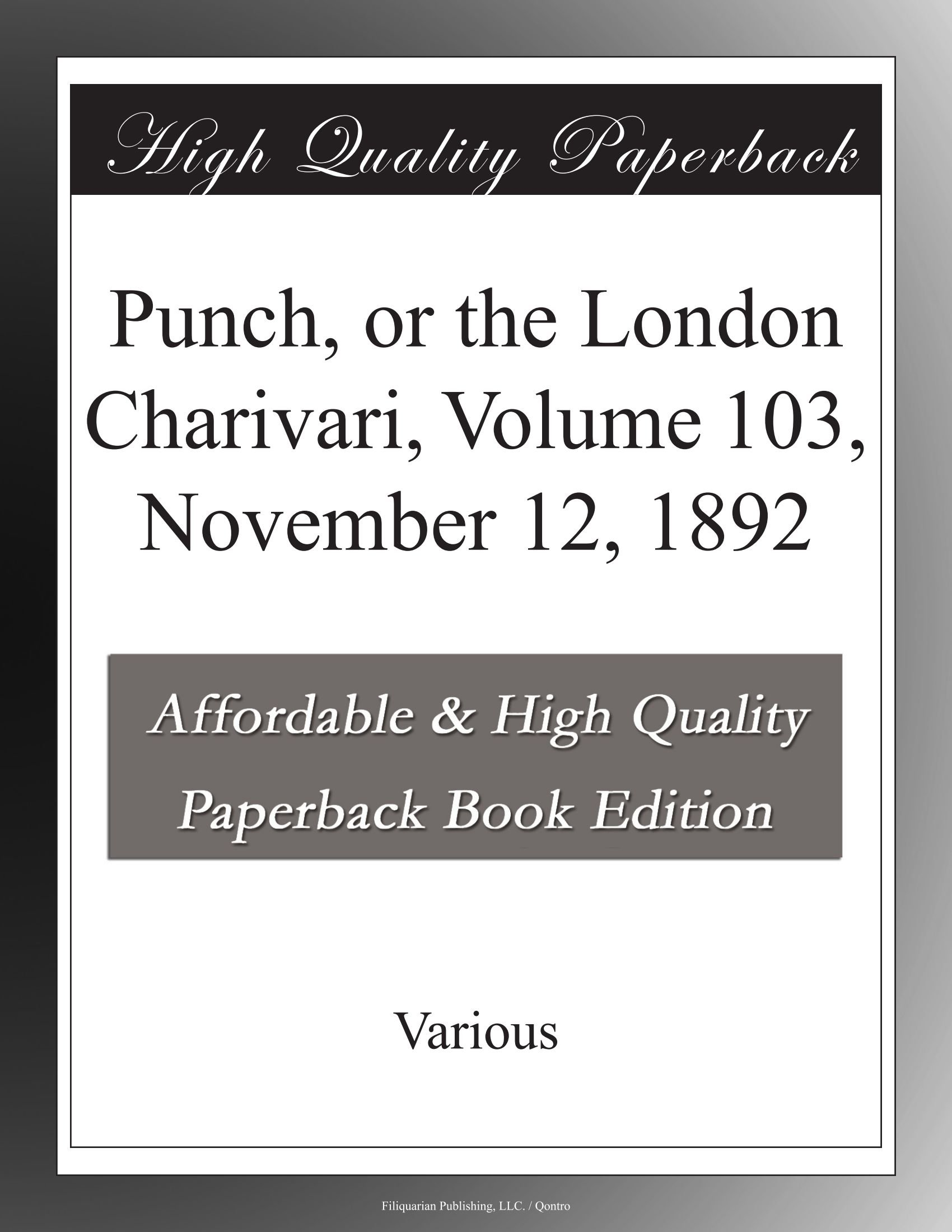 Read Online Punch, or the London Charivari, Volume 103, November 12, 1892 pdf epub