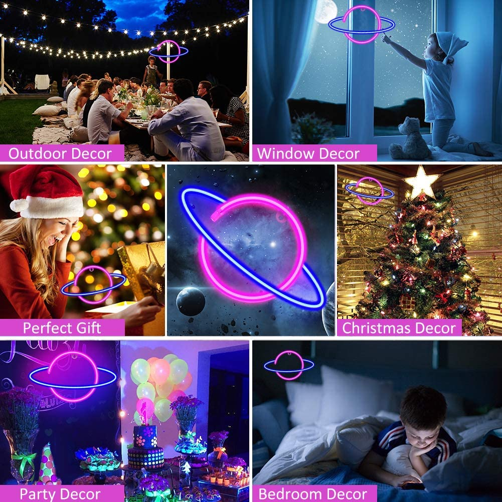 Planet Neon Sign USB//Battery Powered Wall Decorative Lights for Kids Home Bedroom Bar Birthday Party Wedding Decor OurWarm Neon Signs LED Neon Decorative Night Lights for Wall Decor Pink /& Blue
