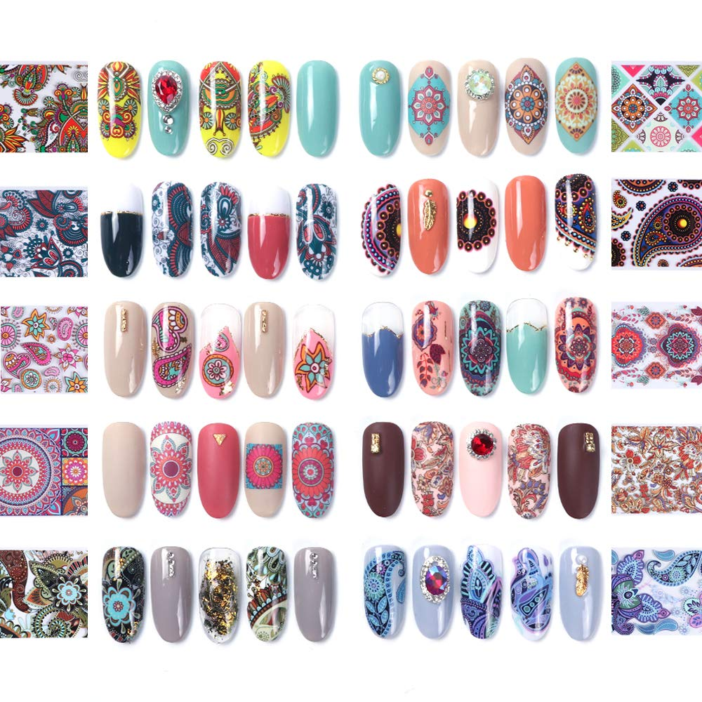 glaryyears 20 Rolls Nail Foil Transfer Sticker Tribal Colorful Flower Designs Nail Art Transfer Wraps Decals Kit each Size 1.57''47.2'' by glaryyears