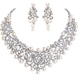 EVER FAITH Women's Crystal Simulated Pearl Vintage Style Wedding Necklace Earrings Set