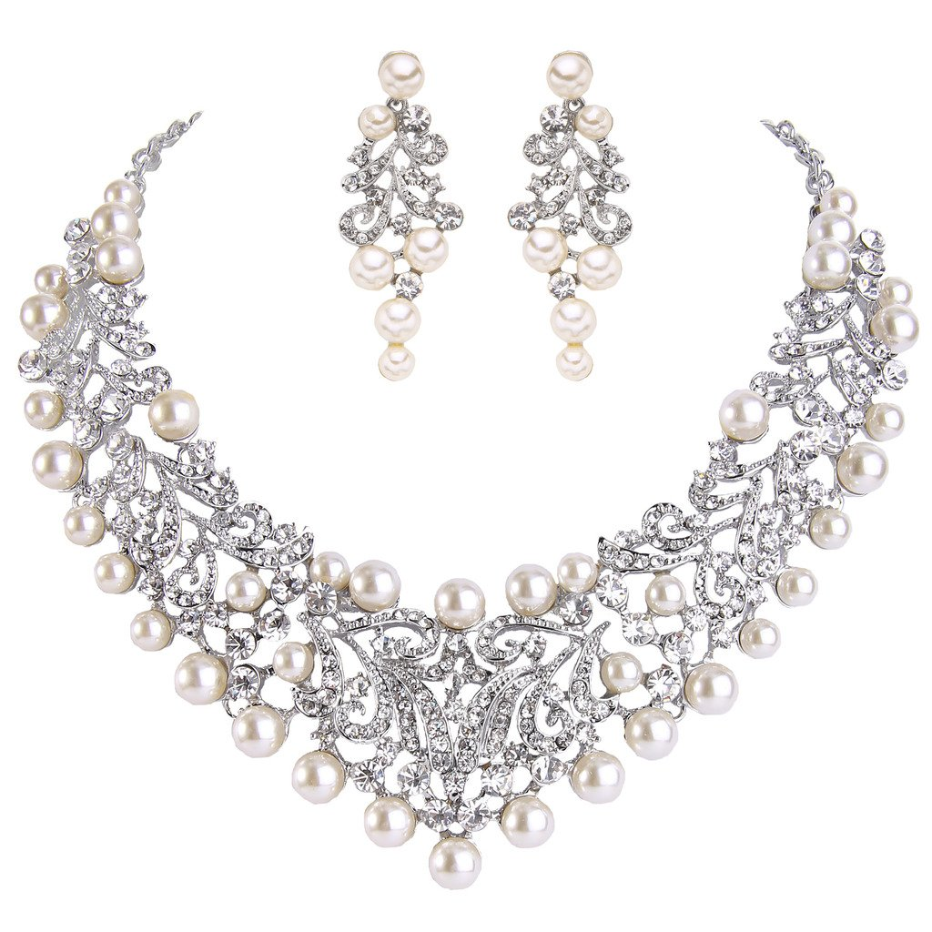 EVER FAITH Women's Crystal Cream Simulated Pearl Vintage Style Wedding Necklace Earrings Set Silver-Tone