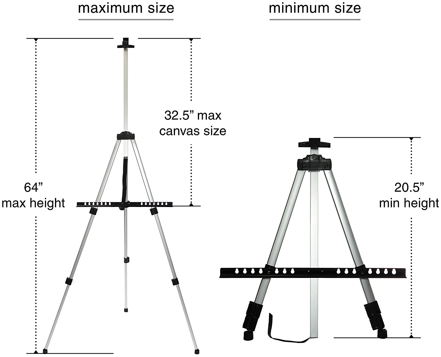 VViViD Silver Aluminum 66 Inch Tall Adjustable Light-Weight Display Easel Including Black Nylon Carrying Case