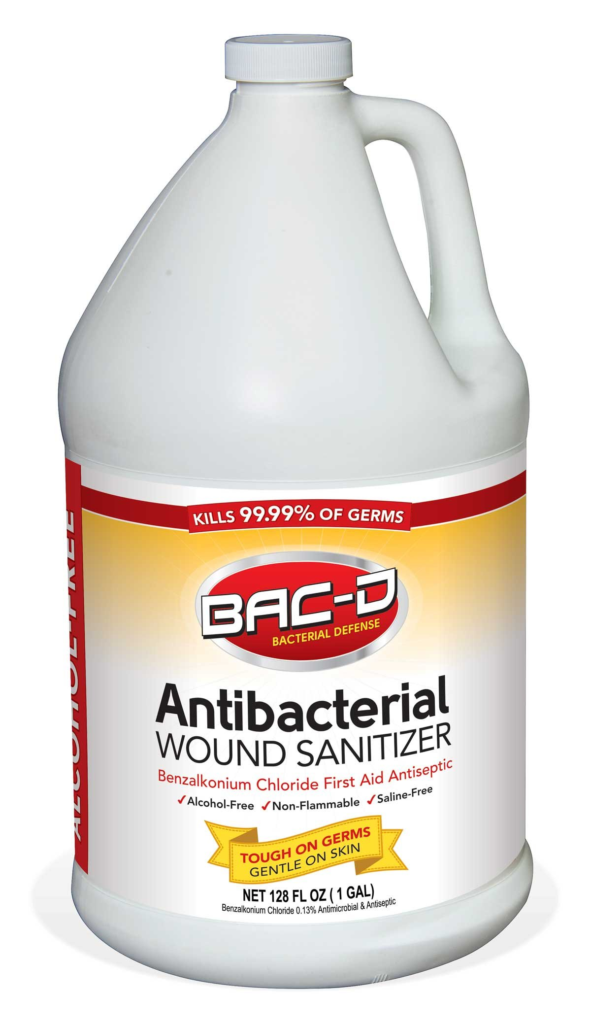 BAC-D 631 Antibacterial Alcohol Free Wound Sanitizer, 1 Gallon Refill, 128 oz. (Pack of 1) by BAC-D