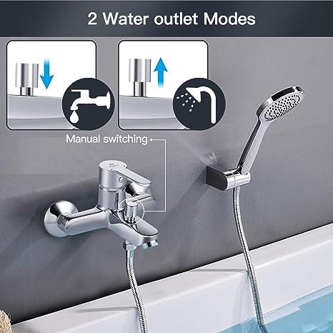 mit Brauseabgang und Bade Wasserhahn PIBF01 Badewanne Mischbatterie aus Messing Pipishell Badewannenarmatur Wannenarmatur mit manuellen Umsteller Aufputz-Wandmontage Armatur