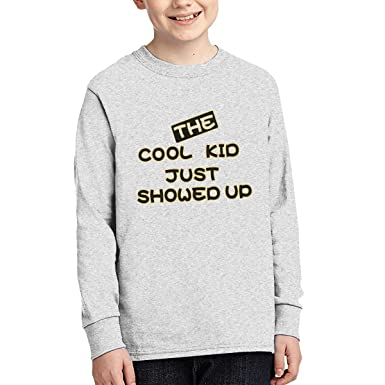 4e3473224 SALKCJZXC Cotton The Cool Kid Just Showed Up. Boys Girls T Shirts Children  Long Sleeves