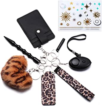 Keychains Set for Woman, Girl Self Protection Keychain with Lip Balm Lanyard,Hair Ball,Key Chain,Whistle, Card Bag.