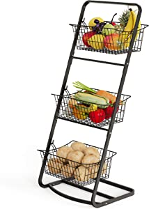 Wire Market Basket Stand, Cambond 3 Tier Fruit Baskets with Removable Wire Baskets for Fruit, Vegetables, Toiletries, Household Items, Floor Standing Metal Storage Baskets for Kitchen Bathroom Pantry