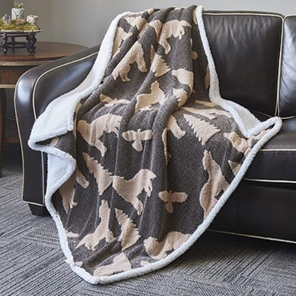 "Virah Bella Tan Black Wolf by Phyllis Dobbs Jacquard Fleece Sherpa Throw 50"" x 60""."