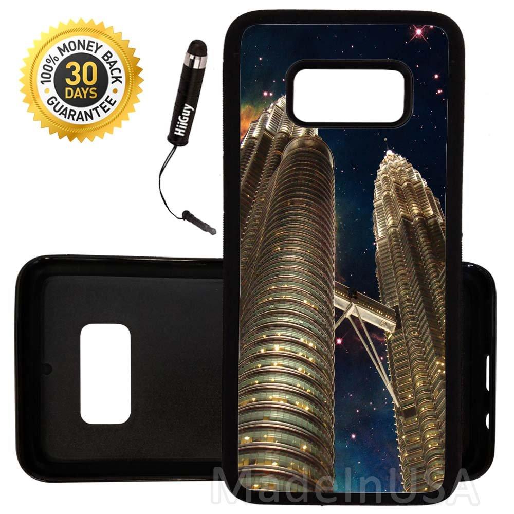 Custom Galaxy Note 8 Case (Petronas Towers Malaysia Nebula) Edge-to-Edge Rubber Black Cover Ultra Slim | Lightweight | Includes Free Mini Stylus Pen by Innosub