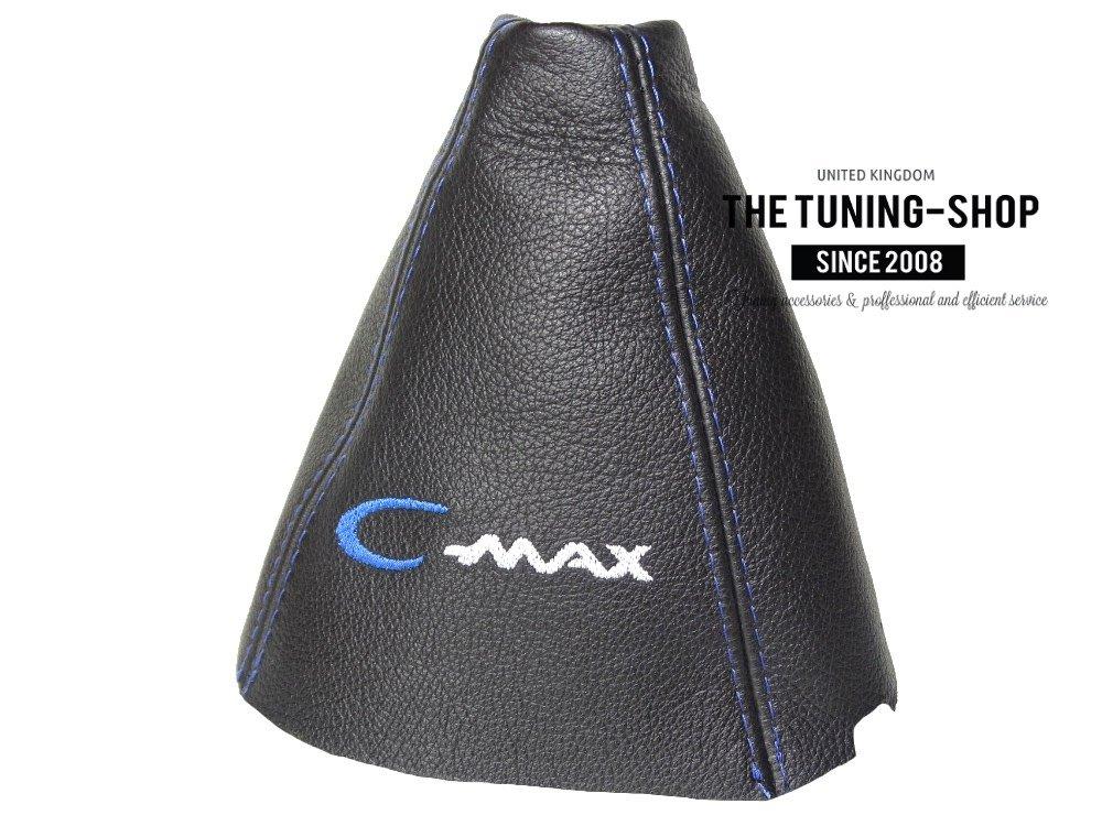 Cuffia leva cambio vera pelle nera C-MAX blu ricamo