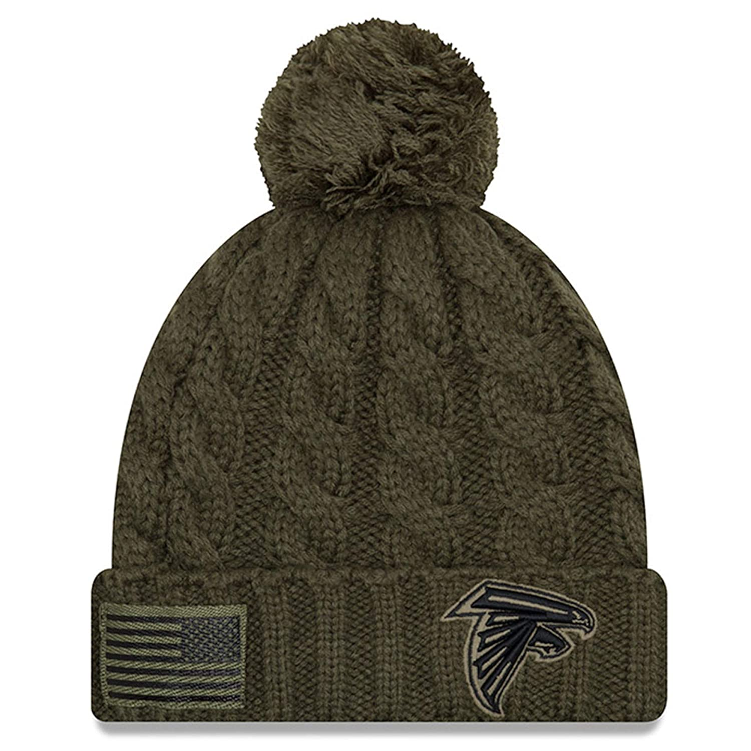 new style 69067 c45fa Amazon.com   New Era Women 2018 Salute to Service Sideline Cuffed Knit Hat  - Olive (Atlanta Falcons)   Clothing