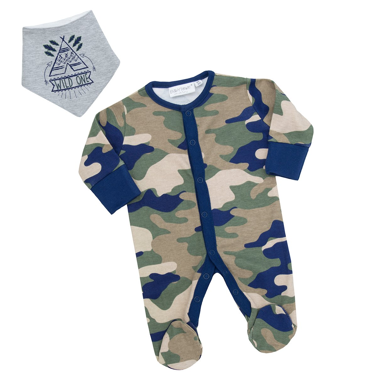 Integrated Scratch Mittens Cotton Rich All-in-One Newborn-9 Months BABY TOWN Baby Boys Camo Safari Sleepsuit
