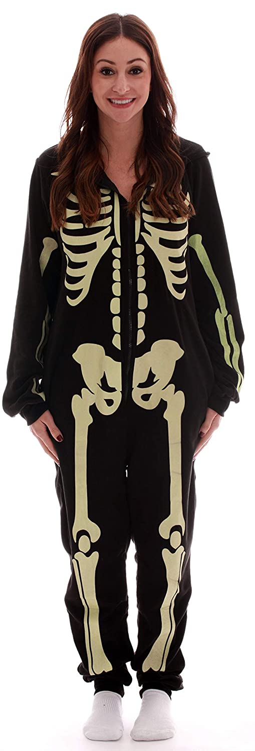 #followme Glow in The Dark Women's Skeleton Onesie Pajamas Family Sleepwear