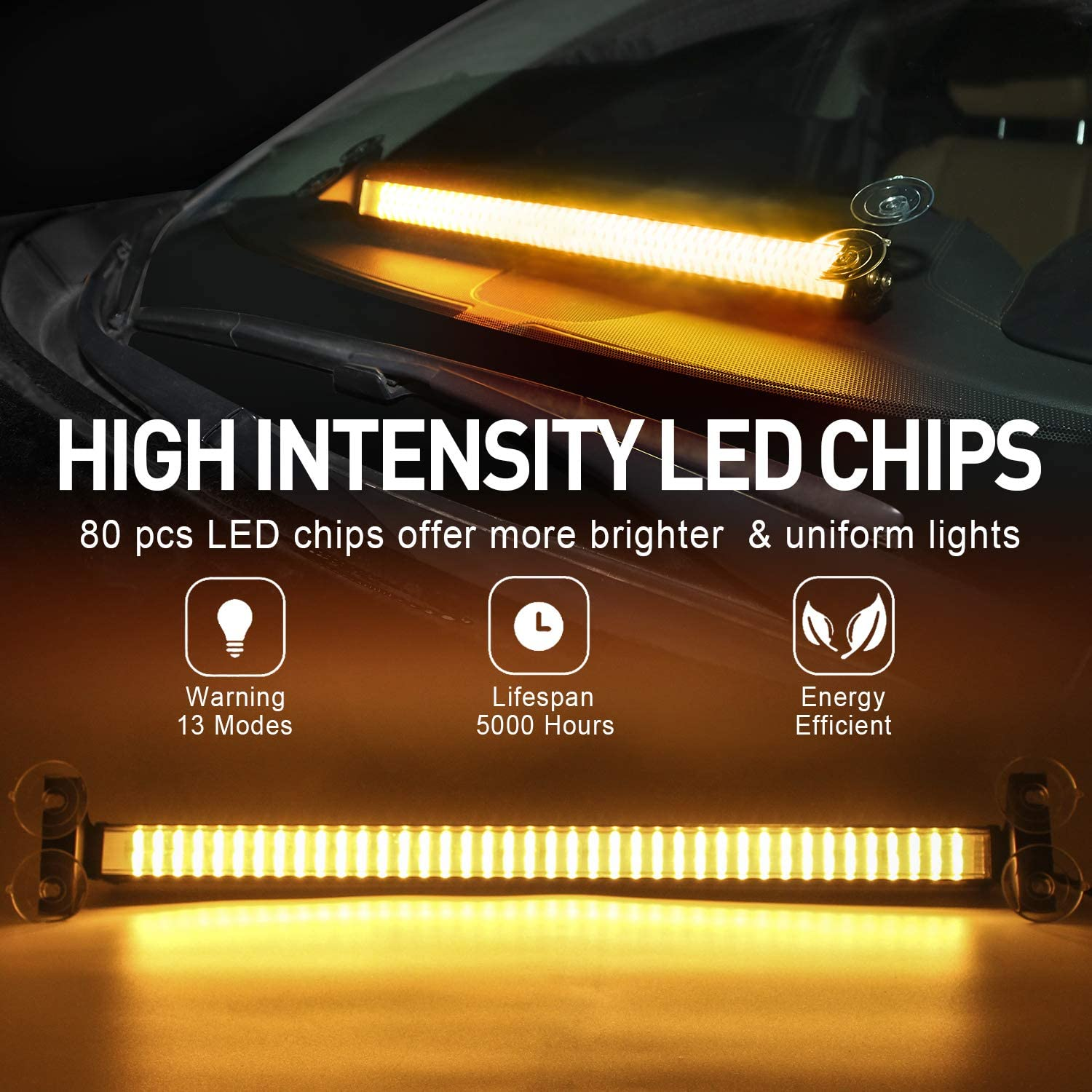 LED Warning Light Bar Amber White Warning Light Bar 80 LED Emergency Dashboard Warning Light 12V Truck Windshield Flash Light Barwith Cigar Lighter and Suction Cups