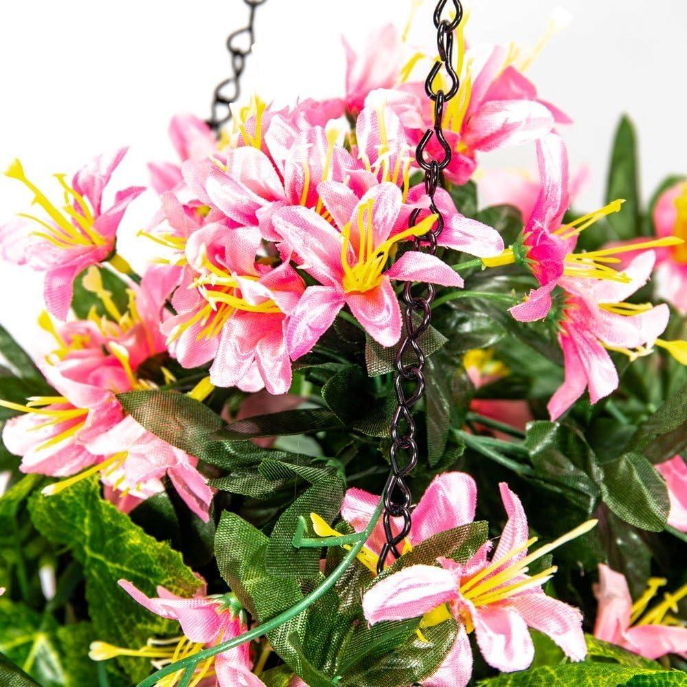 Primrose Vanillier de Artificielle Panier de Fleurs /à Suspendre avec Lampe Solaire