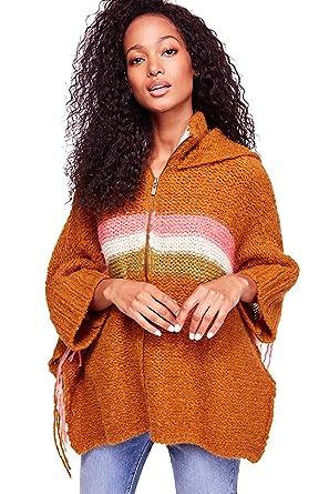112bf5c9dd Free People Desert Sunrise Poncho Sweater with Zipper Hood (M/L) at ...