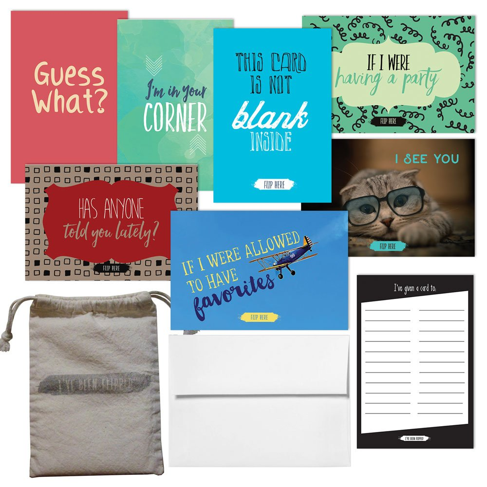 I'VE BEEN FLIPPED POSITIVE GREETING CARD/THANK YOU NOTES FROM TEACHERS TO STUDENTS. 36 UNIQUE CARDS 4'' X 6'' INCH WITH 7 DIFFERENT DESIGNS IN THE SET. TEACHERS SUPPLY GIFT SET. ENVELOPES INCLUDED.
