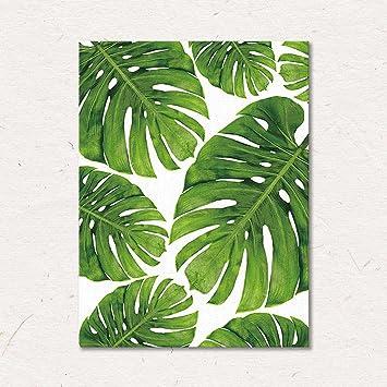 nordic leinwand wandkunst grüne blätter malerei tropische pflanze ...