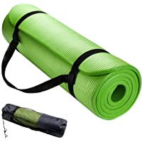 Premium Non-Slip Yoga Exercise Mat, Wonepo NBR Fitness Aerobic Gym Pilates Mats, 15mm Thick with Free Carrying Bag and Strap for Yoga Pilates Stretching Camping