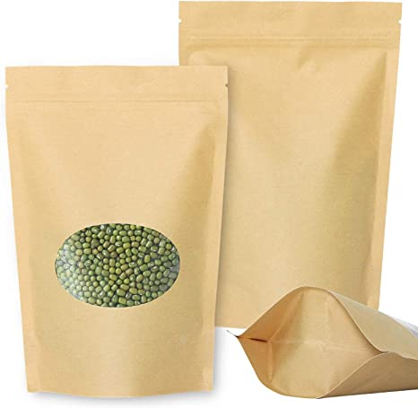 Kraft Paper Bag Stand-Up Zip Lock Pouch Resealable Food Packaging