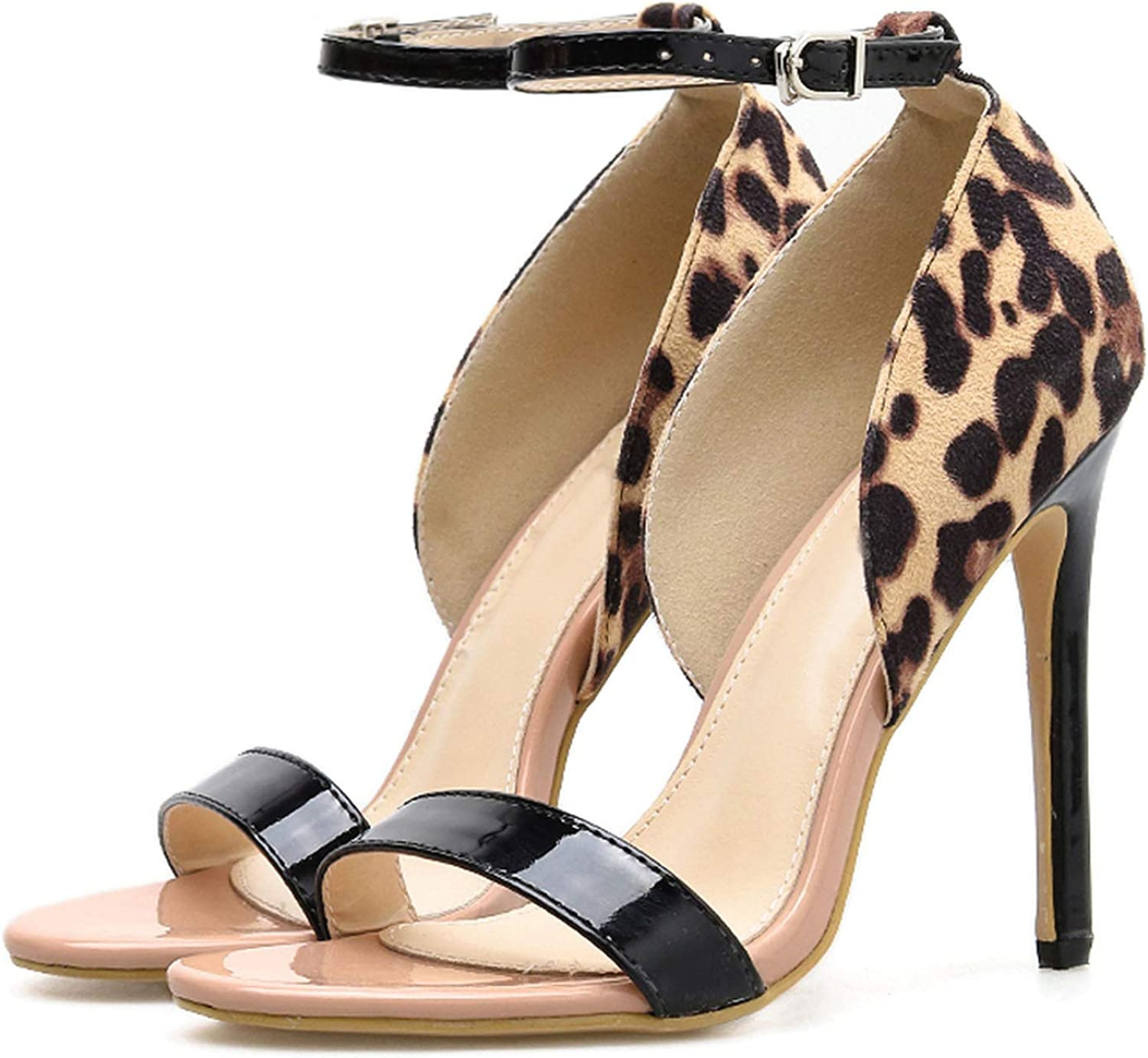Shocked Tomato Leopard Print High Heels Thin Heels Sandals Ankle Strap Sandals Size 35-41