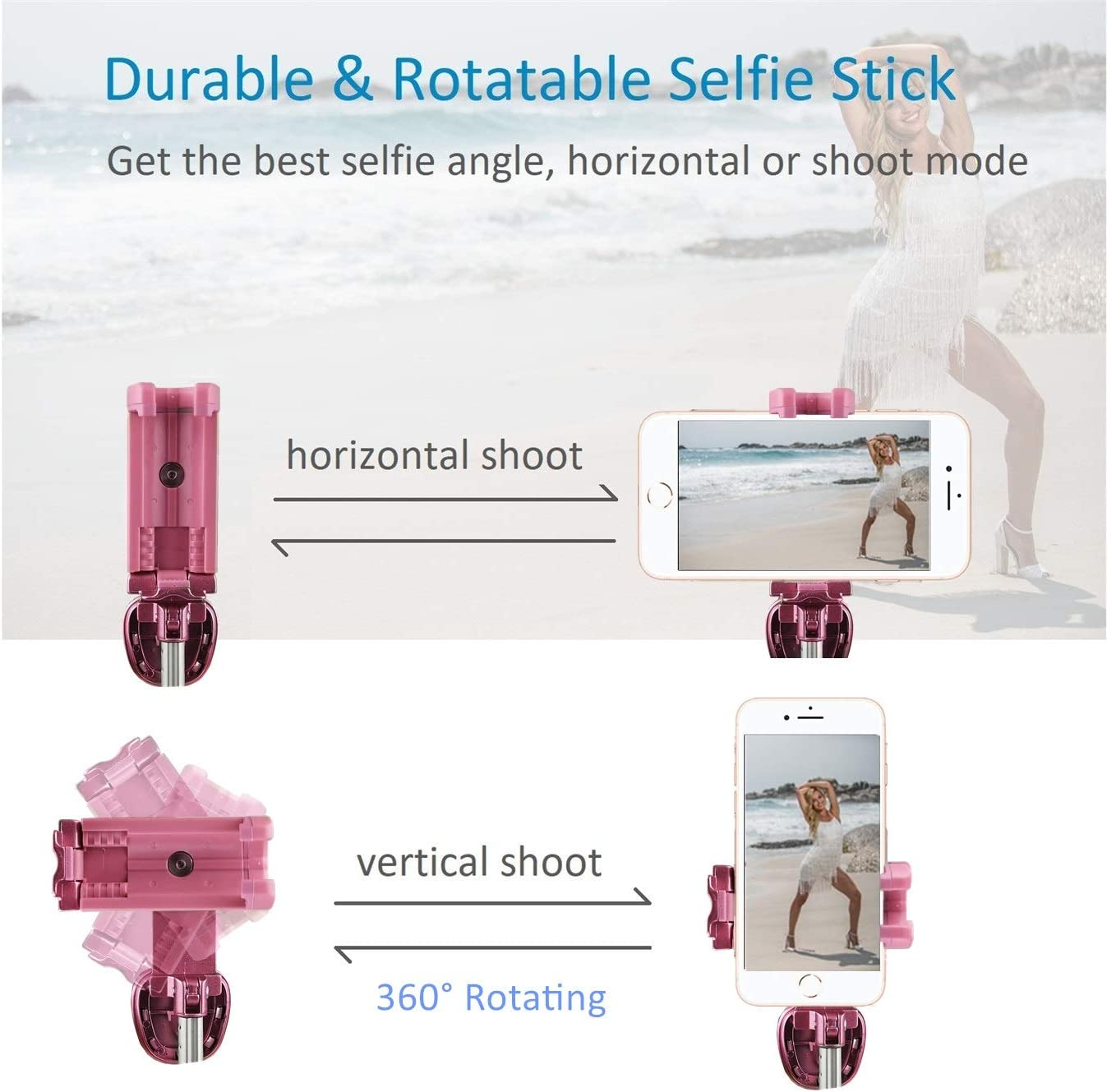 YILONG Tel/éfono Bluetooth Temporizador Selfie Palo Bot/ón Disparador inal/ámbrico M/óvil de Control Remoto