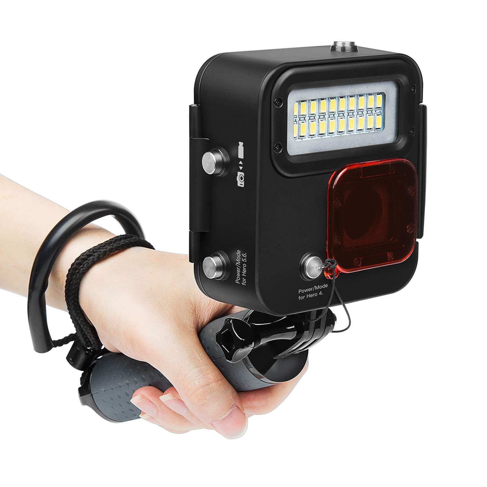 SHOOT 1000LM Kangaroo Diving Light for GoPro HERO7 Black/HERO6/HERO5/HERO4/HERO(2018),Waterproof Case 30m (98 feet), LED Underwater Scuba Fill Light,Removeble Red Filter by SHOOT