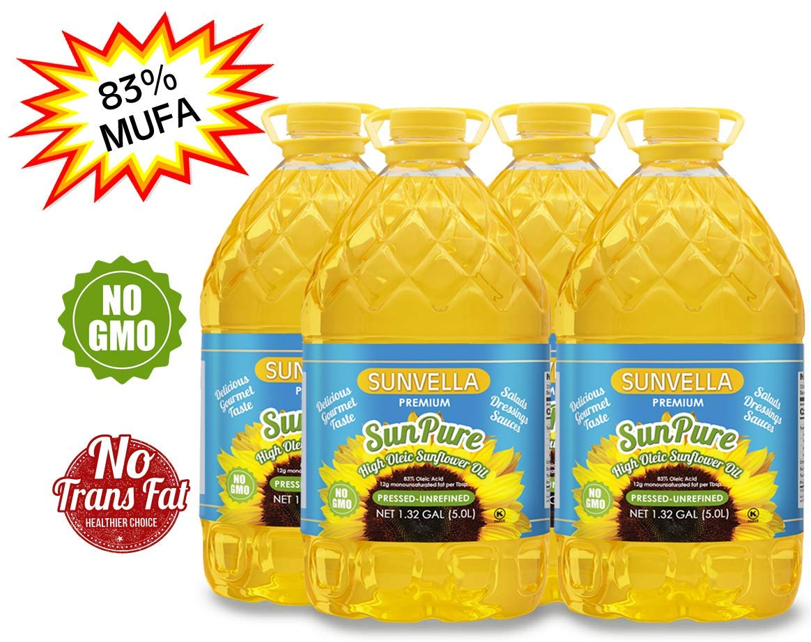 SUNVELLA SunPure Non-GMO, Virgin, Cold Pressed Unrefined, High Oleic Sunflower Oil - Healthy Cooking Oil for Cooking, Baking, Deep Frying, Salads and Dressings (Pack of 4 (1.32 GAL x 4)) by SUNVELLA