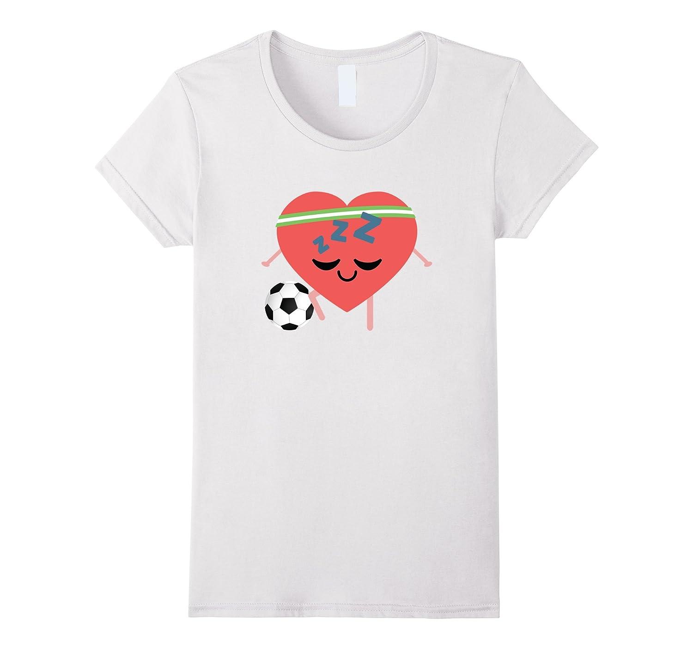 Soccer Heart Sleeping Emoji Shirt T-Shirt Football Tee