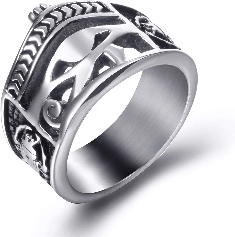 Men Stainless Steel Rings Egyptian Eye of Horus Crown Cross of Life Ankh Scarab Symbol Vintage Jewelry