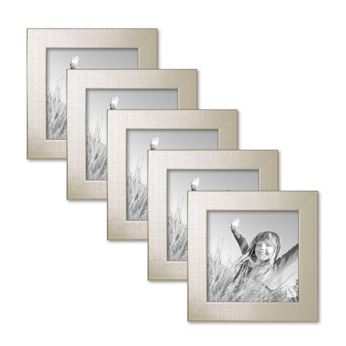 PHOTOLINI 5er Set Bilderrahmen 10x10 cm Gold Modern Massivholz-Rahmen mit Glasscheibe inkl. Zubehör/Fotorahmen
